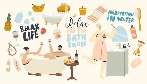 Jovem casal relaxa no banho com espuma bebendo vinho tomando sauna e spa água procedimento.