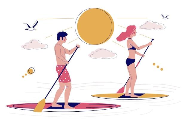Jovem casal remando pranchas de sup, ilustração vetorial plana. stand up paddle boarding, surf sup, conceito de atividade de praia de verão.