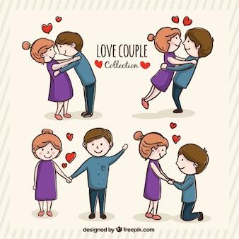 Jovem casal romântico em diferentes posturas
