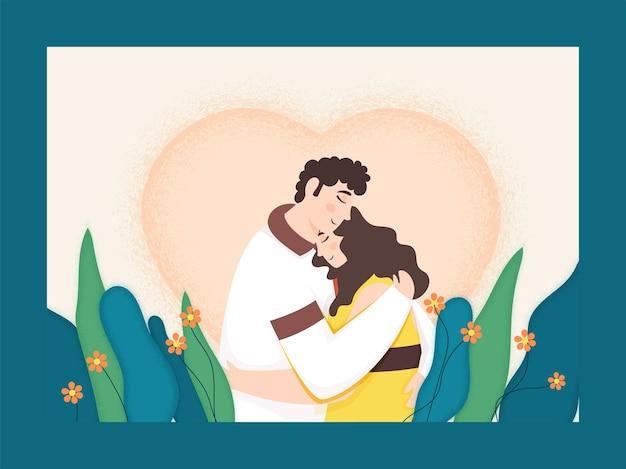 Jovem casal se abraçando com um coração floral com efeito de ruído Vetor Premium