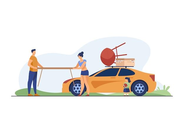 Jovem casal segurando uma mesa para um piquenique na natureza. carro, férias, ilustração vetorial plana de verão. família e conceito de fim de semana