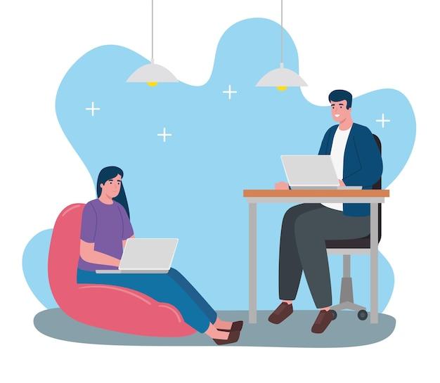 Jovem casal sentado trabalhando em personagens de laptops