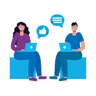 Jovem casal sentado usando laptops e mídias sociais.
