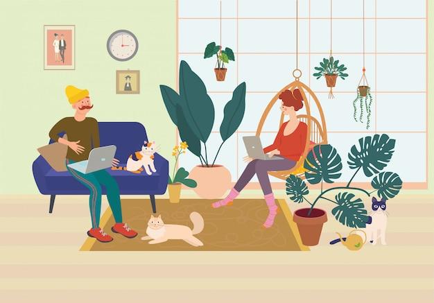 Jovem casal trabalhando em um computador em um ambiente doméstico confortável. escritório em casa, trabalho remoto, ambiente independente e tranquilo com um laptop.
