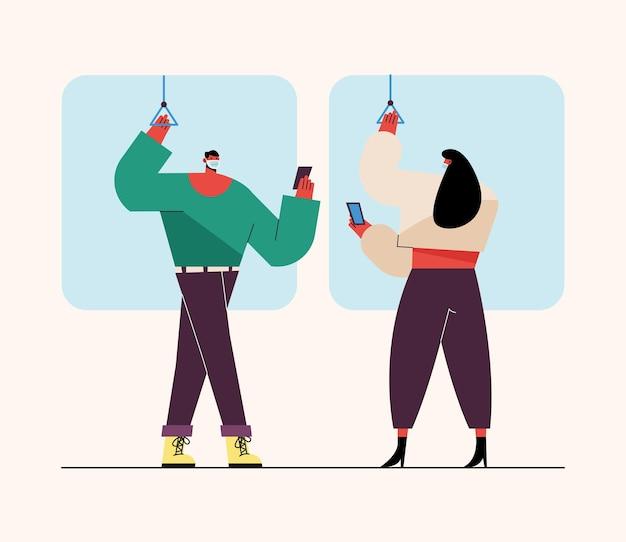 Jovem casal usando máscara médica com smartphone em ilustração de transporte público