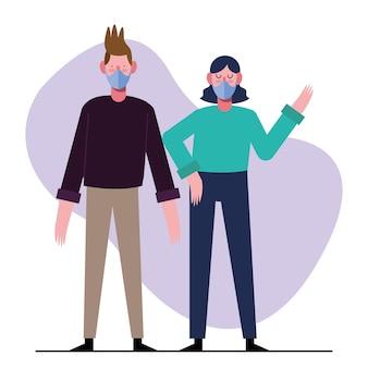 Jovem casal usando máscaras médicas ilustração design
