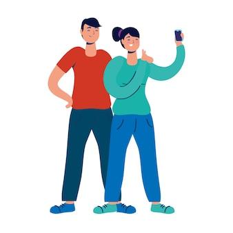 Jovem casal usando personagens de tecnologia do smartphone.