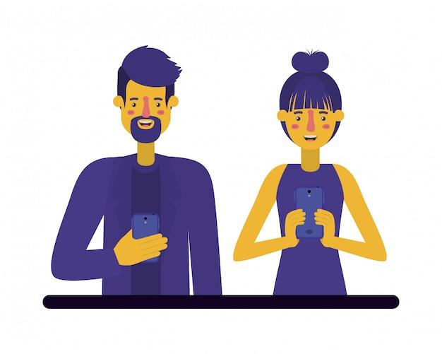 Jovem casal usando smartphone
