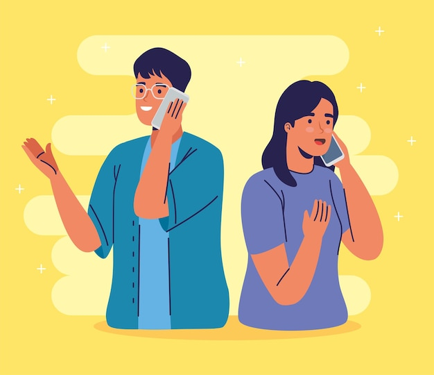 Jovem casal usando smartphones chamando personagens