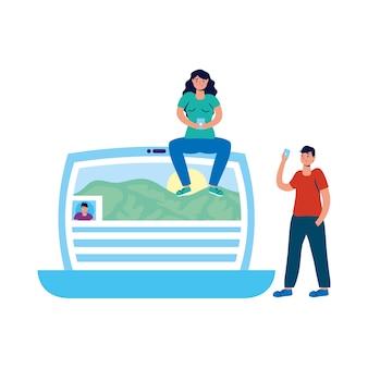 Jovem casal usando smartphones sentado no laptop.