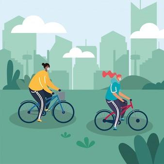 Jovem casal vestindo máscaras médicas em bicicletas