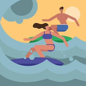 Jovem casal vestindo trajes de banho surfando personagens