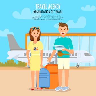 Jovem casal viajando de avião.