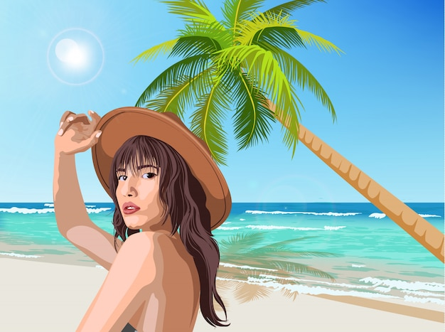 Jovem caucasiana com chapéu marrom posando na praia com palmeira verde e o mar no fundo