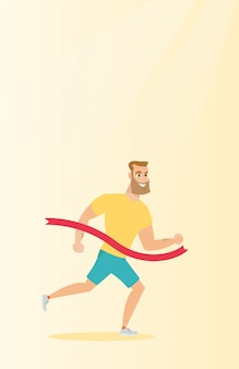 Jovem caucasiano esportista cruzando a linha de chegada.