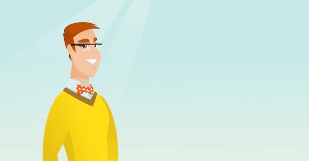 Jovem, caucasiano, homem, desgastar, esperto, óculos