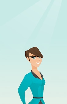 Jovem, caucasiano, mulher, desgastar, esperto, óculos