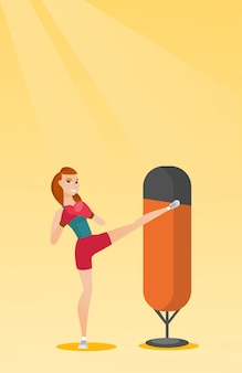 Jovem, caucasiano, mulher, exercitar, com, saco perfurando