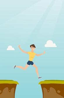 Jovem, caucasiano, sportswoman, pular, a, penhasco