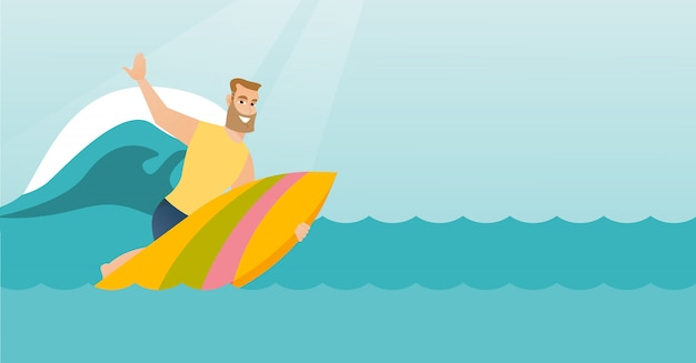 Jovem, caucasiano, surfista, em, ação, ligado, um, surfboard