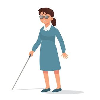 Jovem cega com vara