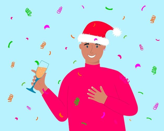 Jovem celebrando o natal ou ano novo segurando uma taça com champanhe e dando um brinde