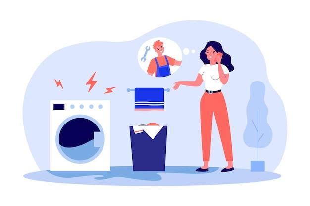 Jovem, chamando técnico de máquinas de lavar. ilustração em vetor plana. mulher de pé no banheiro e ligando para a central de atendimento, consertando eletrodomésticos quebrados. conserto, lavagem, conceito de ajuda