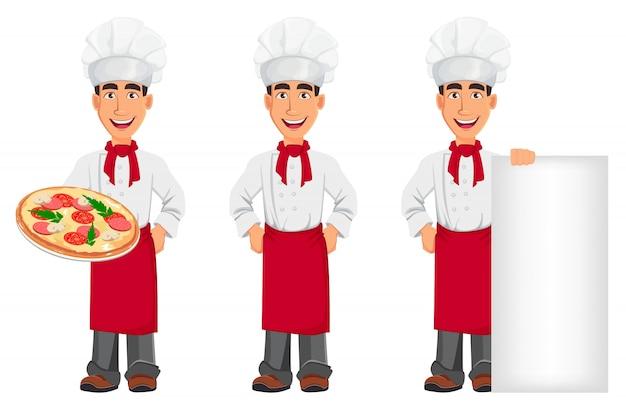 Jovem chef profissional de uniforme e cozinheiro chapéu