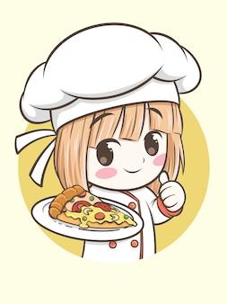 Jovem chef segurando uma fatia de pizza
