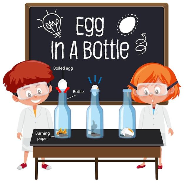 Jovem cientista explicando experimento científico com teste de flutuação de ovo