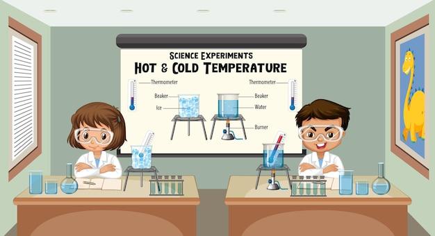 Jovem cientista explicando experimentos científicos de temperatura quente e fria