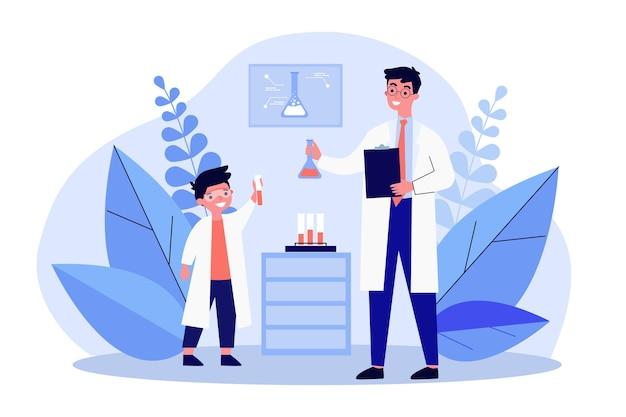 Jovem cientista mostrando resultados de pesquisa para ilustração de químico experiente