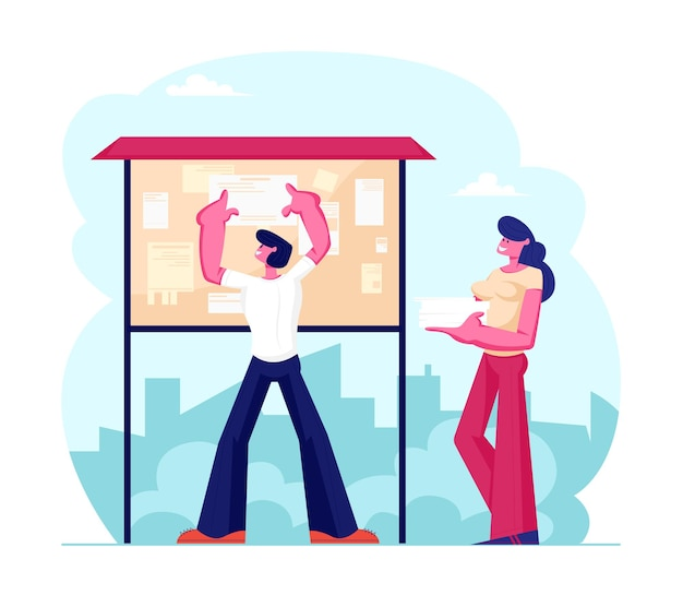 Jovem colando panfleto com anúncio ou publicidade em um quadro de avisos especial, ilustração plana dos desenhos animados