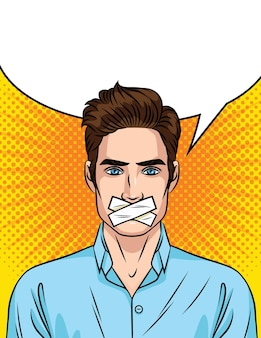 Jovem com a boca fechada. o homem não pode falar