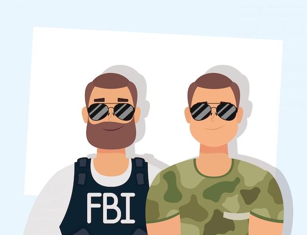 Jovem com barba agente do fbi e militar