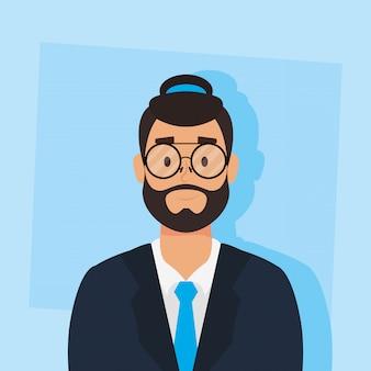 Jovem com barba avatar personagem vector ilustração design