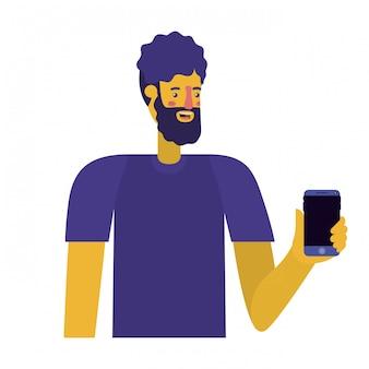Jovem com barba e smartphone