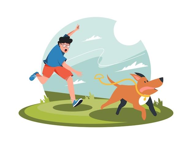 Jovem com cachorro correndo ilustração de personagem