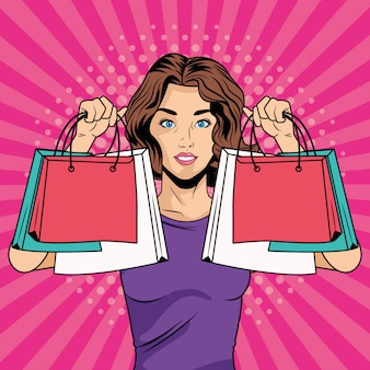 Jovem com caráter de estilo de arte pop de sacos de compras