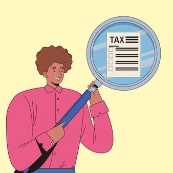 Jovem com dia de imposto pagar design ilustração