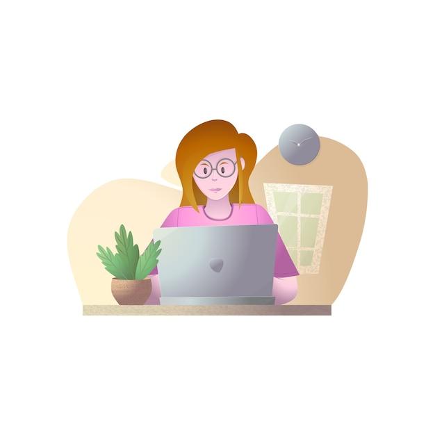 Jovem com ilustração de laptop, ilustração de trabalho de casa