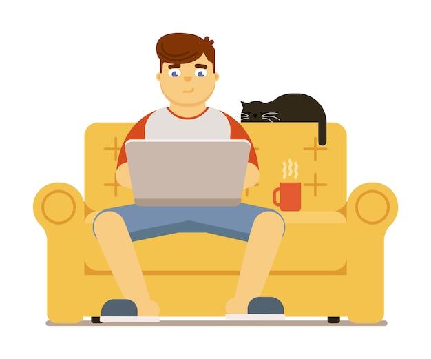Jovem com laptop sentado no sofá em casa, ilustração isolada no fundo branco