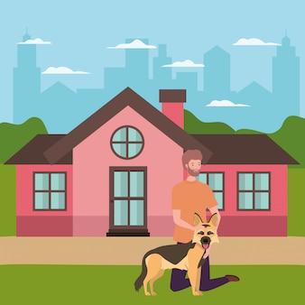 Jovem com mascote de cachorro fofo na casa ao ar livre