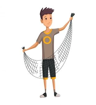 Jovem com rede de peixe nas mãos dele. rapaz prepara uma rede de pesca. pesca bem sucedida