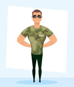 Jovem com roupas militares personagem vector design ilustração