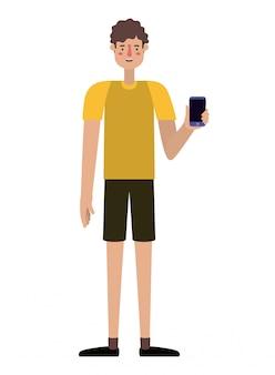 Jovem com smartphone