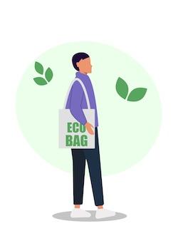 Jovem com uma sacola de produtos ecológicos. comida ecológica.