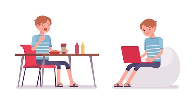 Jovem comendo e trabalhando