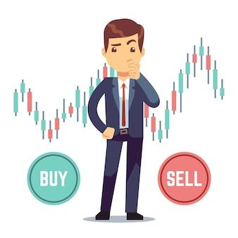 Jovem comerciante e negócio castiçal gráfico com botões de compra e venda.