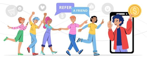 Jovem convida amigos para um programa de recomendação para parceria de negócios